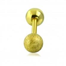 Stahl Tragus Piercing - glatte und sandgestrahlte Kugel in goldener Farbe, 16 mm