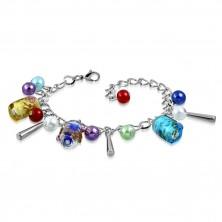 Kettenarmband und Anhänger - künstliche Perlen, farbige Perlen mit Rosen