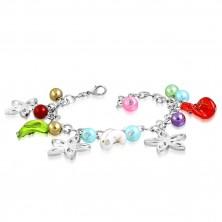 Armband mit Anhängern - Blumenkonturen, gedrehte Perlen mit Rosen, künstliche Perlen