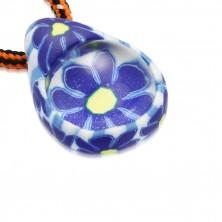 Schnur Halskette - FIMO Träne mit blauen Blumen, Glaskugel