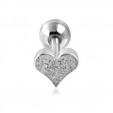 Stahl Ohr Piercing - sandgestrahltes Herz und Kugel in silberner Farbe