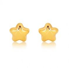Ohrringe aus 9K Gelbgold - glänzender Stern mit fünf Zacken, Ohrstecker
