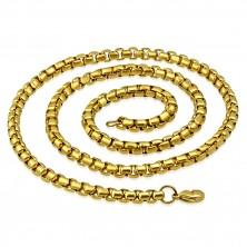 Kette aus 316L Stahl in goldener Farbe, glänzende ovale Glieder, 620 mm