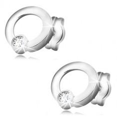 Ohrringe aus 585 Weißgold - glänzender Kreis, glitzernder runder Zirkon, Ohrstecker