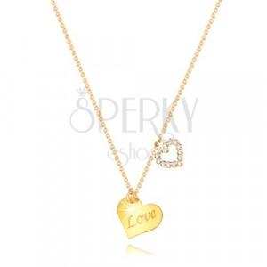 """Halskette aus 9K Gelbgold - Herz mit Aufschrift """"Love"""", Herzumriss mit Zirkonen"""