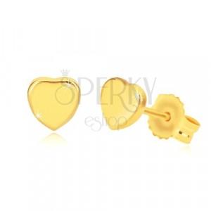 Ohrringe aus 14K Gelbgold - glänzendes symmetrisches Herz, Ohrstecker