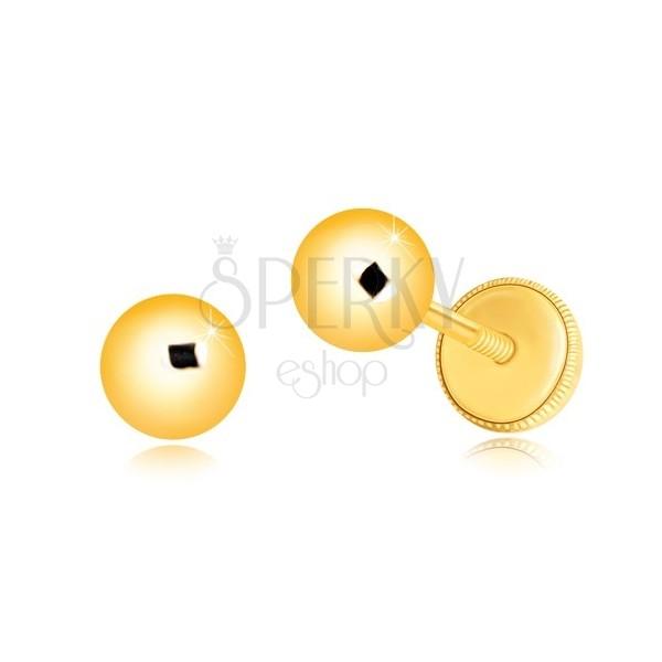 585 Gelbgold Ohrringe - einfache glänzende Kugel, Ohrstecker mit Schraubverschluss, 5 mm
