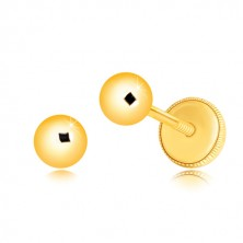 Ohrringe aus 14K Gelbgold - Kugel mit glatter glänzender Oberfläche, Ohrstecker mit Schraubverschluss, 4 mm