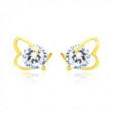 Ohrringe aus 14K Gelbgold - asymmetrischer Herzumriss, glitzernder Zirkon, Ohrstecker mit Schraubverschluss