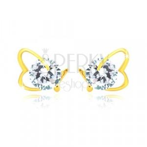 Ohrringe aus 14K Gelbgold - asymmetrischer Herzumriss, glitzernder Zirkon