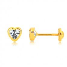 585 Gelbgold Ohrringe - glänzender symmetrischer Herzumriss, herzförmiger Zirkon, Ohrstecker mit Schraubverschluss