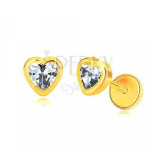 585 Gelbgold Ohrringe - glänzender symmetrischer Herzumriss, herzförmiger Zirkon