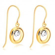 9K Gold Ohrringe - Ring aus Gelbgold, Fassung aus Weißgold und Zirkon