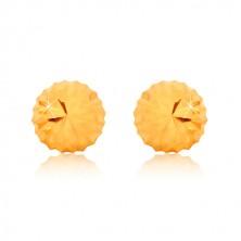 375 Gelbgold Ohrringe, Blumenmotiv - glitzernder Kopfteil mit Kerben, Ohrstecker