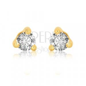 Ohrringe aus 9K Gelbgold - klarer runder Zirkon in dreieckiger Fassung