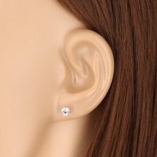 9K Weißgold Ohrringe - glitzernder Zirkon mit sechs Krappen befestigt, 5 mm