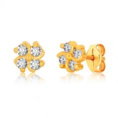 375 Gelbgold Ohrringe - Blume mit vier Zirkonen und leicht gedrehten Linien
