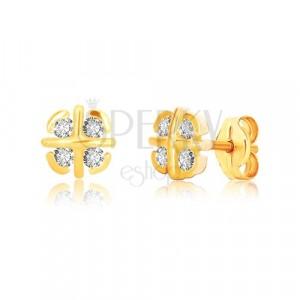 9K Gelbgold Ohrringe - Blume mit gekreuzten Linien und Bogen, Zirkone
