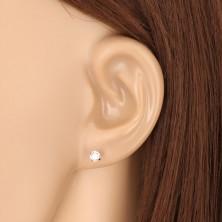 9K Weißgold Ohrringe - klarer glitzernder Zirkon, vier Krappen, 4 mm