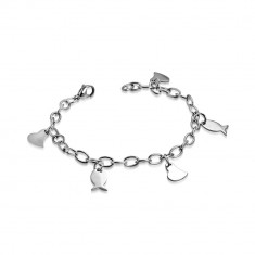 Armband aus Chirurgenstahl - breitere Kette, asymmetrisches Herz und Fische