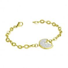 Stahl Armband in goldener Farbe - dekorativer Kreis mit einem Ausschnitt, klare glitzernde Zirkone