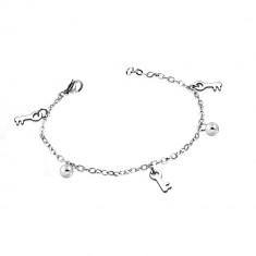 Armband aus Chirurgenstahl in silberner Farbe - glänzende Kugeln und Schlüssel