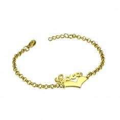 """Stahl Armband in goldener Farbe - symmetrisches Herz und Aufschrift """"Love"""", Kette aus runden Gliedern"""