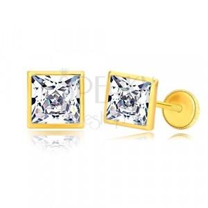 Ohrringe aus 585 Gelbgold - glitzerndes Zirkon Quadrat in glänzender Fassung, 6 mm