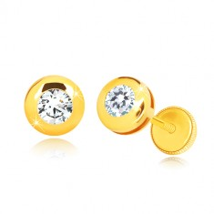 14K Gelbgold Ohrringe - glänzender Kreis mit einem klaren runden Zirkon