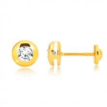14K Gelbgold Ohrringe - glänzender Kreis mit einem klaren runden Zirkon, Ohrstecker mit Schraubverschluss