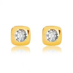 Ohrringe aus 9K Gelbgold - glänzendes Quadrat mit abgerundeten Kanten und Zirkon