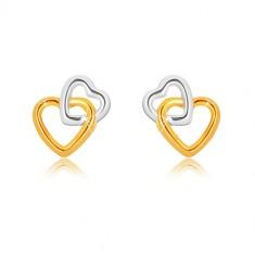 Kombinierte 9K Gold Ohrringe - miteinander verbundene Herzumrisse, Ohrstecker