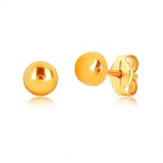 9K Gelbgold Ohrringe - Kreis mit glänzender Oberfläche, Ohrstecker