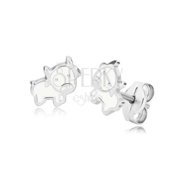 Beförderung Online-Einzelhändler Outlet zum Verkauf Ohrringe aus 925 Silber - Kuh, glänzende Kontur mit Glasur in ...