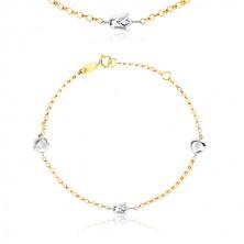 Armband aus 9K kombiniertem Gold - runde Glieder, Herz, Tulpe und Blume