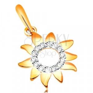 375 Gelbgold Anhänger - Sonnenblume mit glänzenden Blütenblättern, Zirkon Kreis
