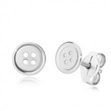 925 Silber Ohrringe - glänzender runder Knopf mit vier Löchern, Ohrstecker