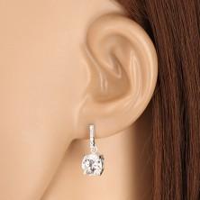 925 Silber Ohrringe - Zirkon Linie und glitzernder Zirkon, herzförmige Ausschnitte