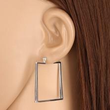 925 Silber Ohrringe - räumliches Quadrat, drei senkrechte Linien, französischer Verschluss