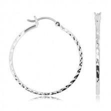 925 Silber Ohrringe - glänzende Kreise mit geschliffenen kleinen Flächen, französischer Verschluss