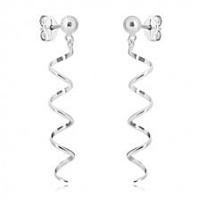925 Silber Ohrringe - glänzende Kugel und schmale Spirale, Ohrstecker