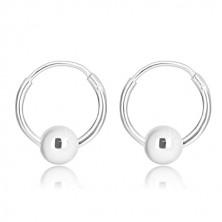 925 Silber Ohrringe - glänzender Kreis mit beweglicher Kugel