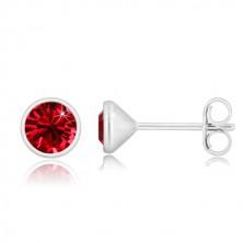 925 Silber Ohrringe - glitzernder rubinroter Zirkon, glänzende Fassung