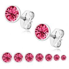 925 Silber Ohrringe - glitzernder Zirkon in rosa Farbe in runder Fassung