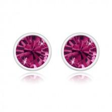 Ohrringe aus 925 Silber - glitzernder Zirkon in lila Farbe, glänzende runde Fassung