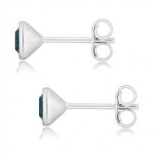 925 Silber Ohrringe - glitzernder Zirkon in dunkelblauer Farbe, runde Fassung