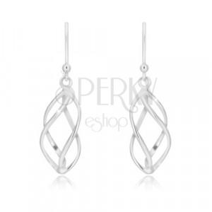 925 Silber Ohrringe - vier leicht gedrehte Linien, Afrohaken