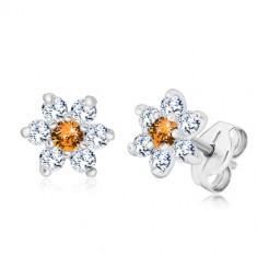 925 Silber Ohrringe - glitzernde Zirkon Blume mit honig-orange Mitte