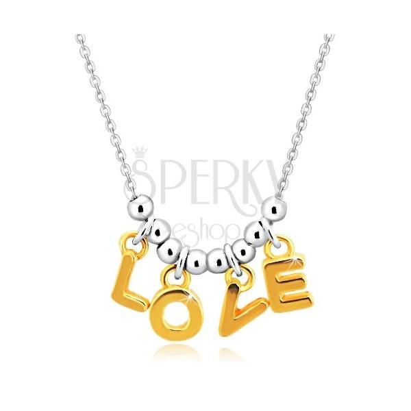 """Halskette aus 925 Silber - Kette, Buchstaben """"L-O-V-E"""" in goldenem Farbton und Kugeln"""
