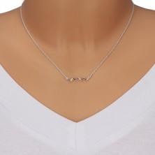 925 Silber Halskette - Welle mit farbigen Zirkonen, Kette aus ovalen Gliedern